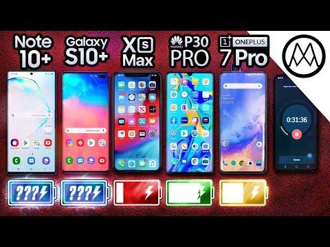 Samsung Note 10 Plus vs S10 Plus iPhone XS Max P30 Pro OnePlus 7 Pro Battery Life DRAIN TEST