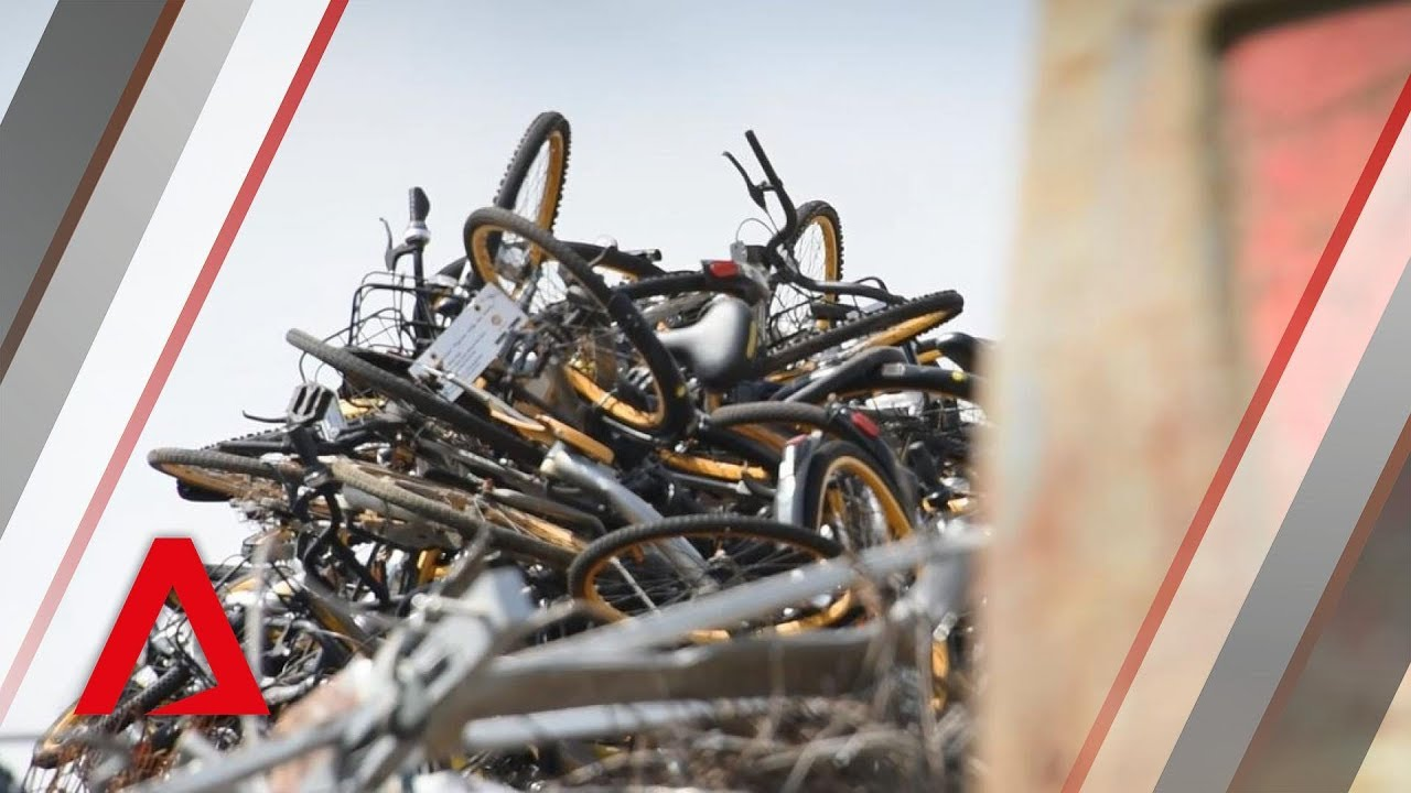 A graveyard for oBikes in Tuas