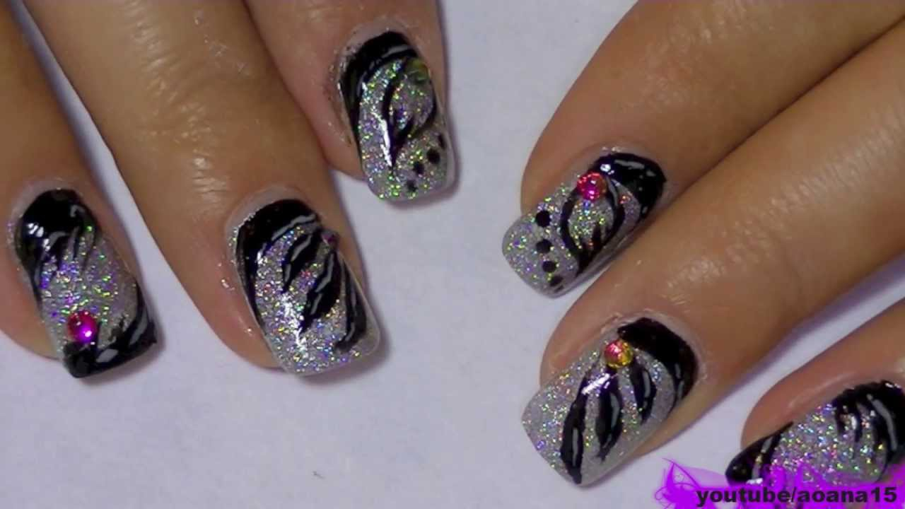 Holographic Nail Polish and black, 3 types of nail art ...