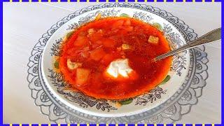 Классический рецепт борща со свининой и томатной пастой