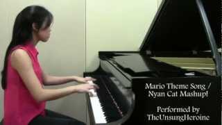 Super Mario Theme Song / Nyan Cat Piano Mashup!