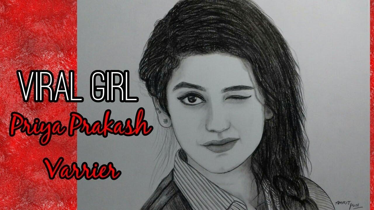 Priya prakash varrier drawing viral girlpencil drawing amrit pun 2018