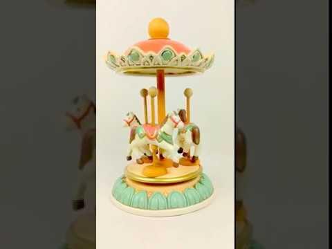 TRE CAVALLINI   Handmade Ceramic Music Box, Three Horse Carousel by La Gatta Carillon