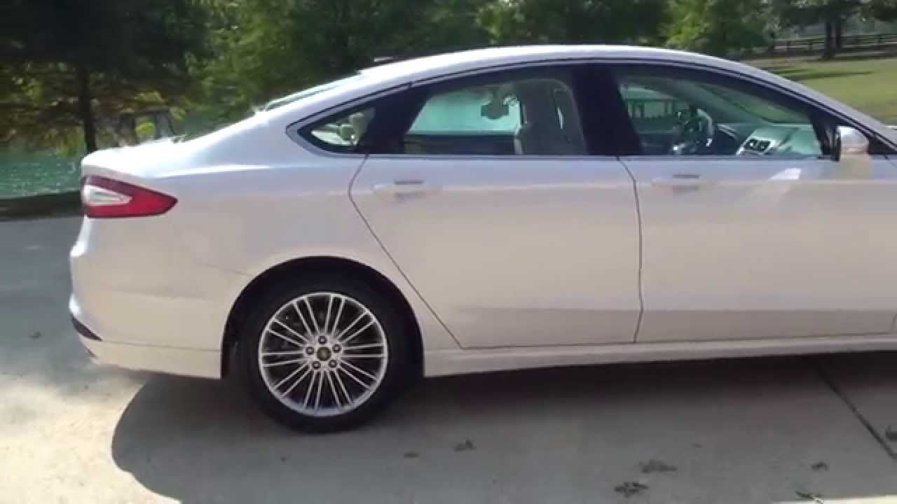 Hd video 2015 ford fusion se pearl white used ecoboost for sale see www sunsetmotors com youtube