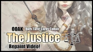 REPAINT! The Justice - Corrupted Tarot Doll Collab - OOAK