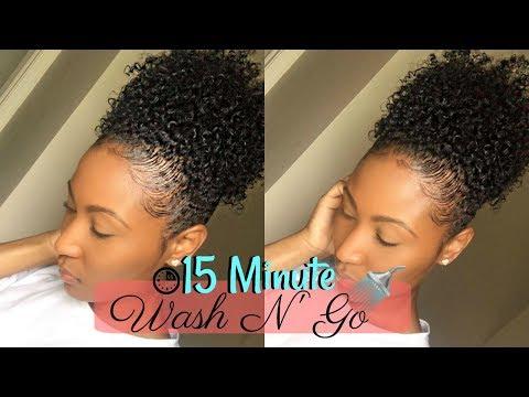 15 Minute Wash N' Go High Puff  4a Type Hair + WATCH ME SLAAAAAYYY THESE EDGES!!