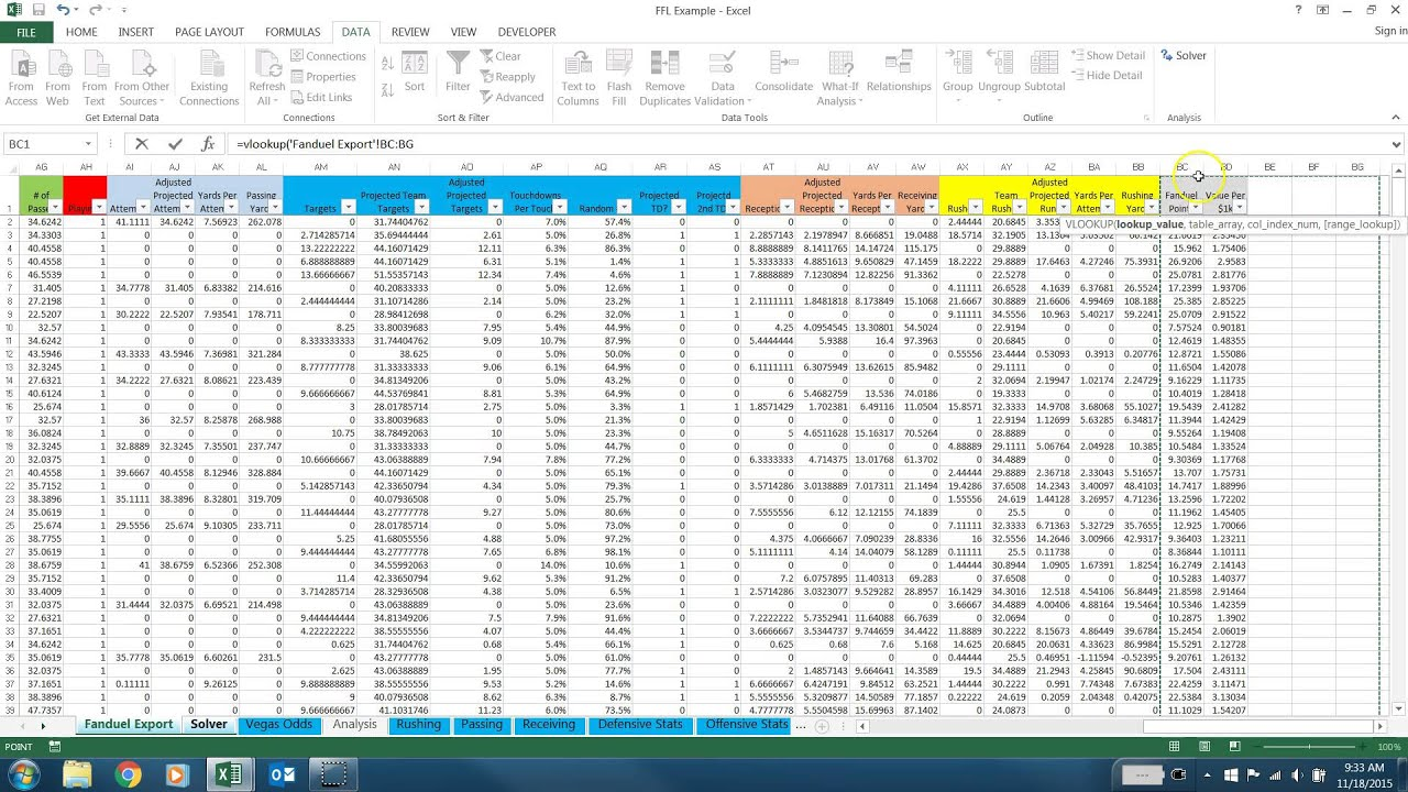 spreadsheets for daily fantasy sports