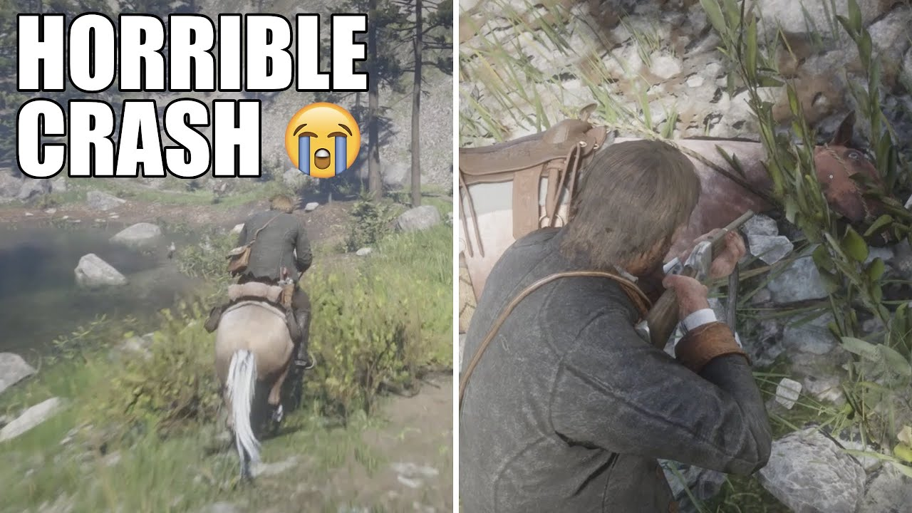 Massive Crash in Red Dead Redemption 2 (Had to end horse's life 😭)