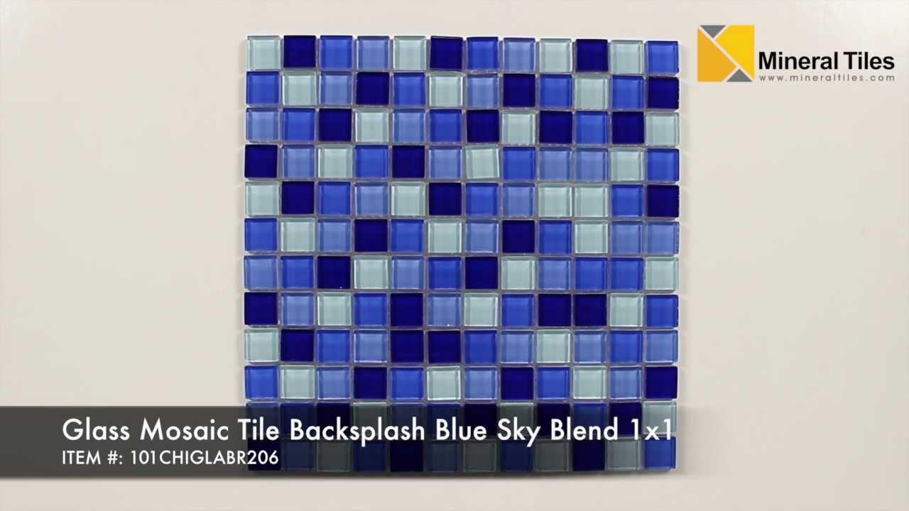 Glass Mosaic Tile Backsplash Blue Sky Blend 1x1 - 101CHIGLABR206 ...
