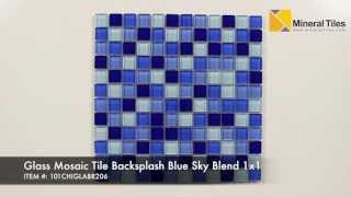 Glass Mosaic Tile Backsplash Blue Sky Blend 1x1 - 101CHIGLABR206