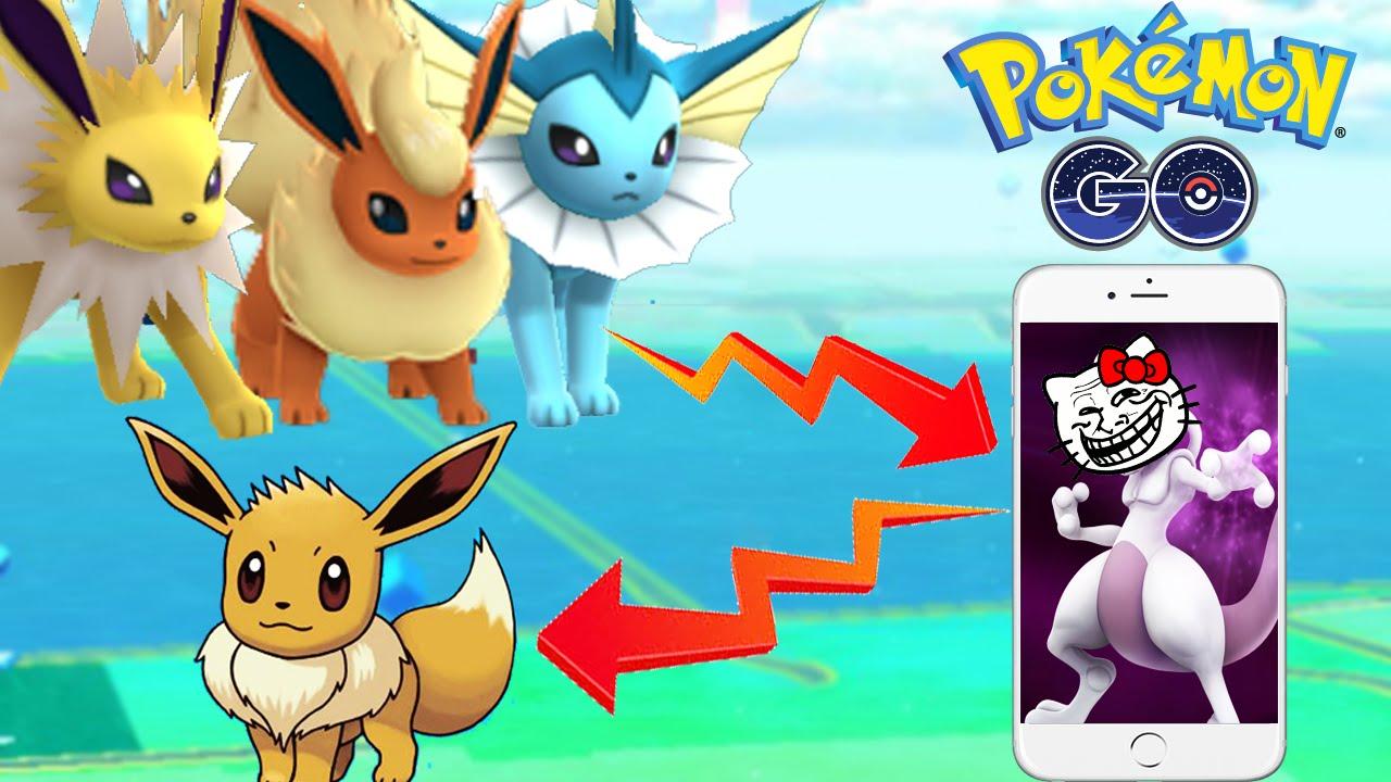 Pokemon Go EEVEE EVOLVES INTO MEWTWO Troll All Evolution