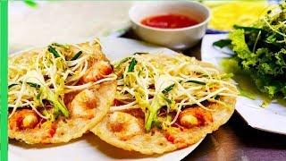 Vietnamese Shrimp Jumping Pancako ( Banh Xeo Tom Nhay ) - Vietnam Cheap Street food