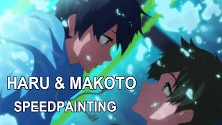 fanart haru makoto high speed starting days speedpainting