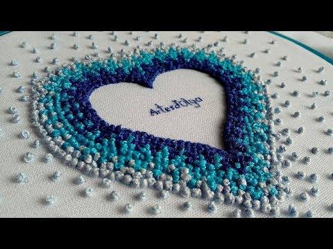 Hand Embroidery : French knot heart  Bordado a mano : Corazón con nudo francés  ArtesdOlga