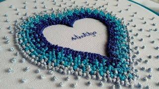Hand Embroidery : French knot heart | Bordado a mano : Corazón con nudo francés | Artesd'Olga