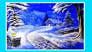 Рисование гуашью/Новогодний зимний пейзаж поэтапно для начинающих