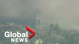 La Palma volcano: Video captures moment church collapses as lava consumes it
