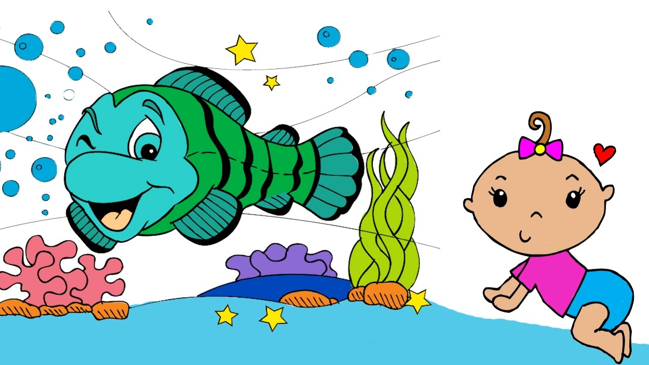 baby girl coloring pages for kids and fish under ocean coloring book for children coloring video