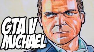 Drawing Michael from GTA V - Watercolor