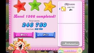 Candy Crush Saga Level 1366 ★★★ NO BOOSTER