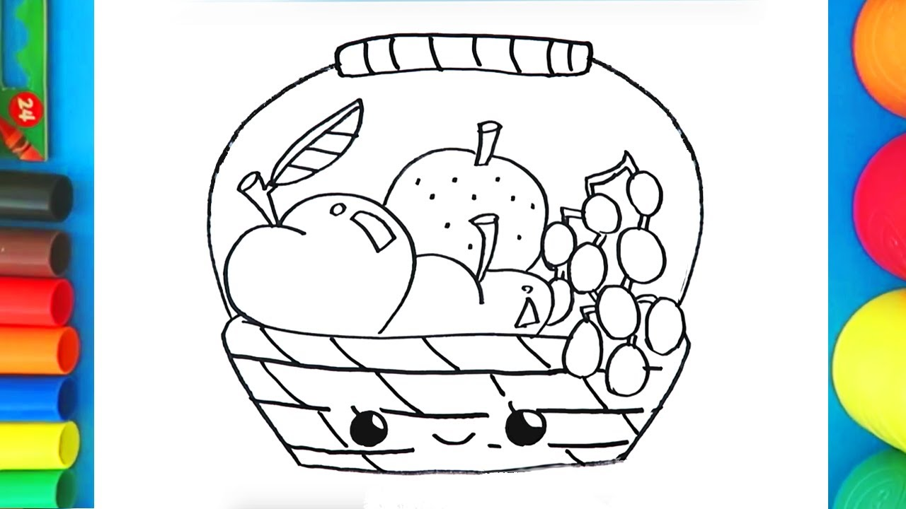 How To Draw And Color A Fruit Basket