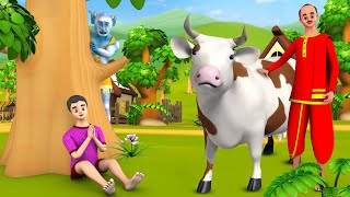 Magical Cow Hindi Story | जादुई गाय हिन्दी कहानी - 3D Animated Bedtime Moral Stories Fairy Tales