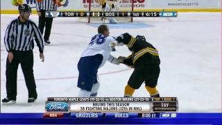 Milan Lucic fights Colton Orr w/Slow Mo HD 3/4/10 thumbnail