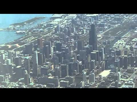 Flying over Chicago, Chicago, Illinois, United States, North America