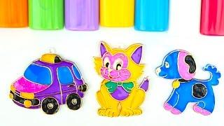 Витражи для детей, учимся раскрашивать витражи, учим цвета и формы  Игрушкин ТВ