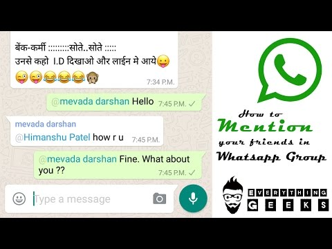 How To Mention (TAG) Your Friends In Whatsapp Group | Whatsapp Launched New Feature
