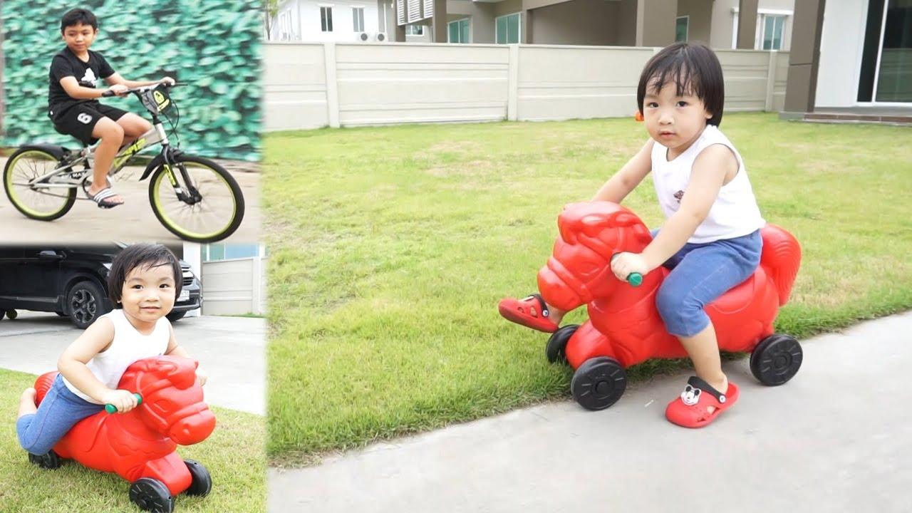 น้องปลาวาฬ l ขี่รถม้าขาไถสีแดง