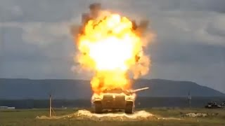 tow missile vs t 72 tank in slow motion