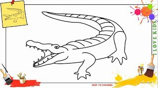How to draw a crocodile 2 EASY & SLOWLY step by step for kids, beginners