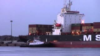 Container Ship MSC JAPAN docking at the Port of Saint John  (April 15, 2016)
