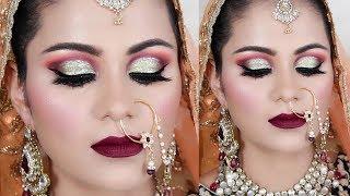 INDIAN MUSLIM BRIDAL Makeup Tutorial In HINDI |Green Gold Half Cut Crease