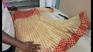 Beautiful Anarkali Dress Cutting and Stitching in Professional Style