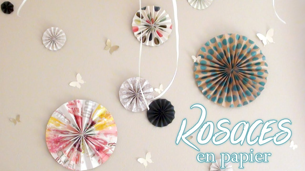 Diy deco fabriquer des rosaces en papier youtube for Decoration a fabriquer