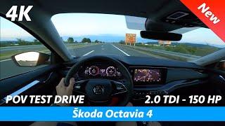 Skoda Octavia 4 2020 - POV test drive in 4K   2.0 TDI - 150 HP, 0 - 100 km/h