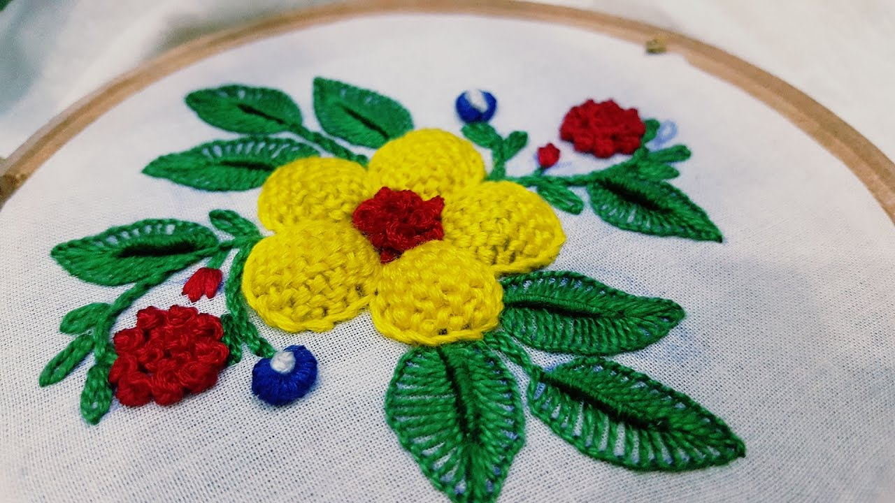 Padded flower stitch hand embroidery step by youtube
