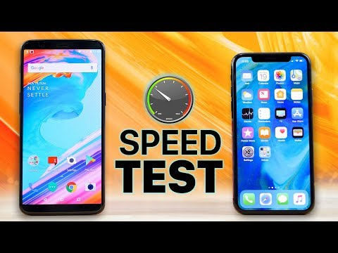 Thumbnail: OnePlus 5T vs iPhone X SPEED Test!