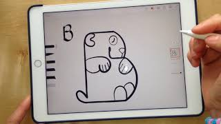 "Como dibujar un Oso Panda desde la letra ""B"" (Ipad Pro)/How to draw a Panda Bear from the letter ""B"