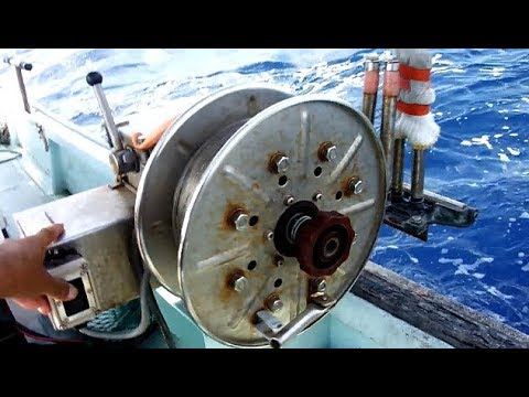 Fishing Deep Sea Using Large And Powerful Electric Reel