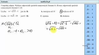 Zadanie 14. Szacowanie pierwiastków. Egzamin przykładowy ósmoklasisty CKE | MatFiz24.pl