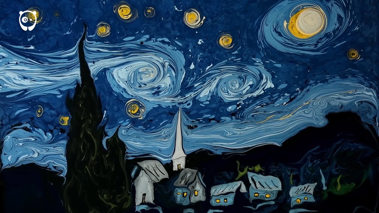 Cuadros De Vango Van Gogh 39s Starry Night Painted On Dark Water By Garip Ay
