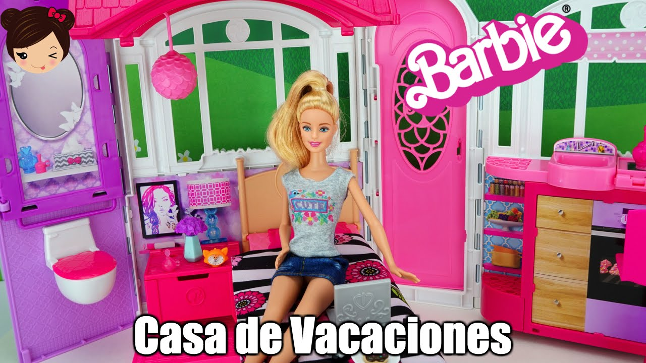 barbie casa de vacaciones portatil mini episodio con mu eca barbie youtube. Black Bedroom Furniture Sets. Home Design Ideas