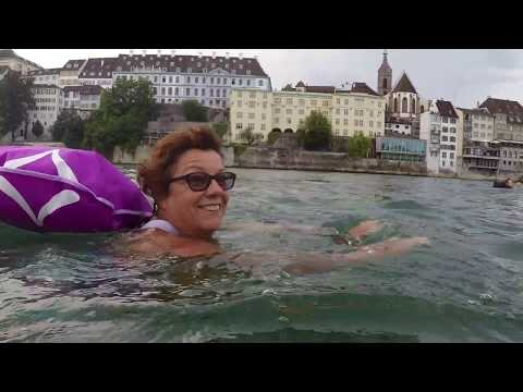 Wild Swimming - Switzerland - Basel. River swimming in the R