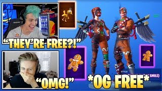 STREAMERS Reacts TO NEW FREE *OG* Merry Marauder & Ginger Gunner Styles & BACKBLINGS! (Fortnite)
