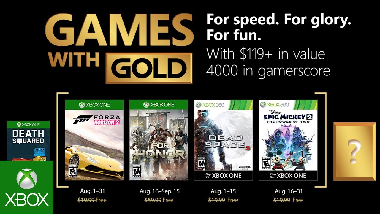 Xbox Games With Gold August 2020.Xbox August 2018 Games With Gold