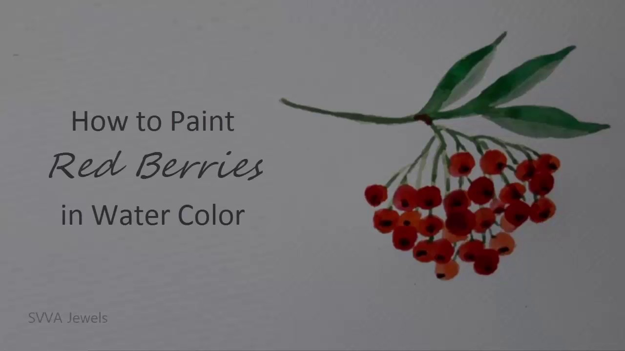 how to paint a type of red berries on a branch with watercolor no