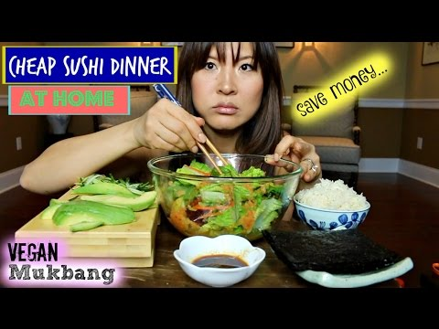GINGER DRESSING • AVOCADO VEGAN SUSHIROLL • Mukbang & Recipe